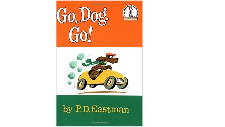 Cover art for Go, Dog. Go! A dog with a hat and scarf drives a yellow car.