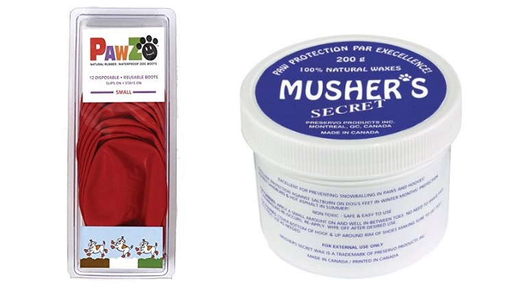 A package of red Pawz rubber booties next to a container of Musher's paw wax.