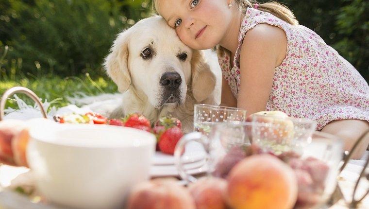 Girl sitting with golden retriever on blanket in garden having picnic