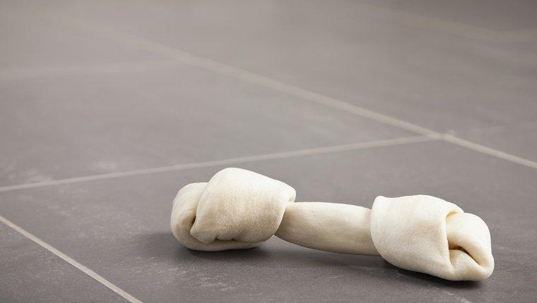 USA, Illinois, Metamora, Dog bone on kitchen floor