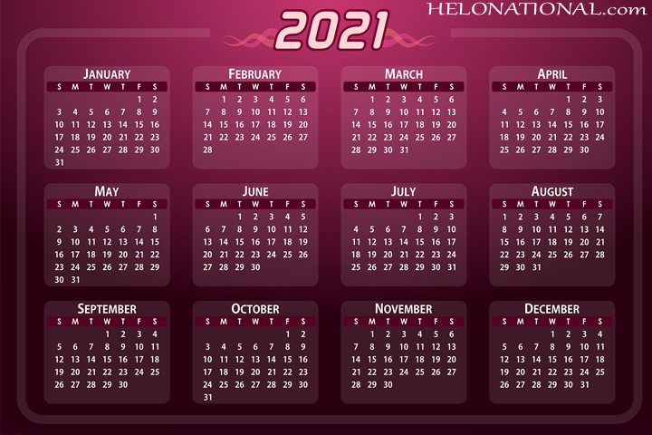 HAppy new year calender 2021