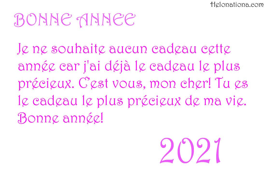 Souhaits de bonne année 2021 pour femme et mari