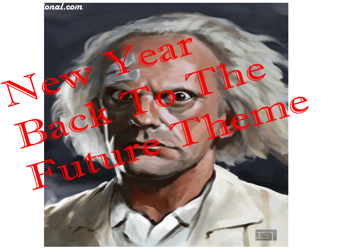 Happy new year 2022 back to the future theme