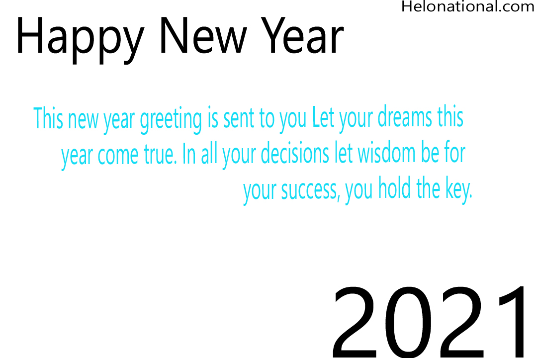 Happy New Year 2021 Holiday wishes