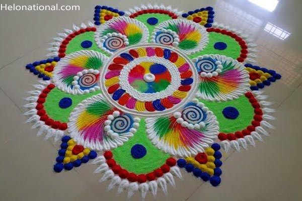Happy new year rangoli with dot