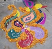 Simple and easy new year rangoli-min