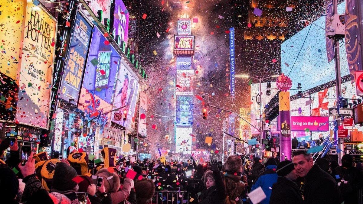 New year ball drop celebration